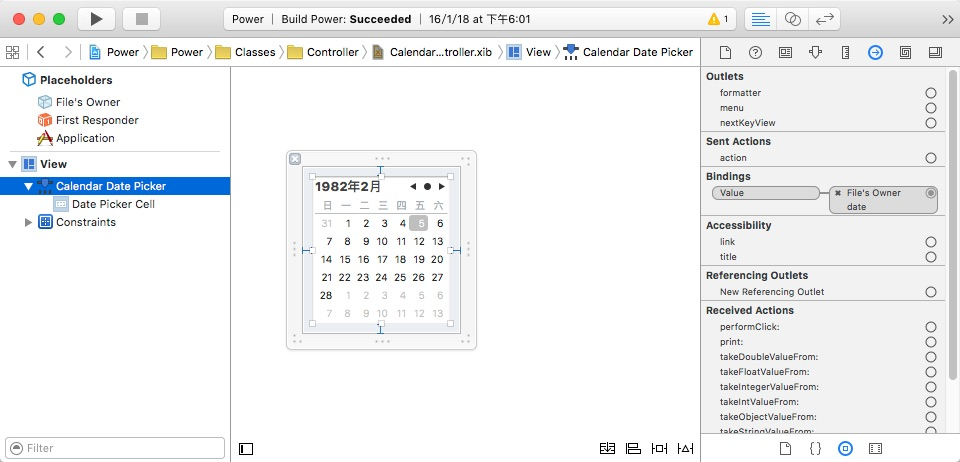 XIB CalendarViewController